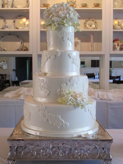 Floral and Lace Wedding Cake by Let's Do Cake!