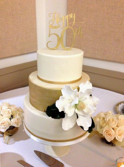 50th Wedding Anniversary Cake by Let's Do Cake!  Covered in fondant with an edible Gold Painted tier...