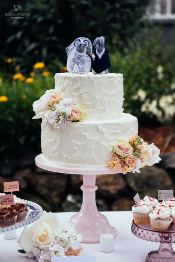 Rustic Frosted Carrot & Cream Cheese Wedding Cake by Let's Do Cake!  Fresh flowers put on by us and...