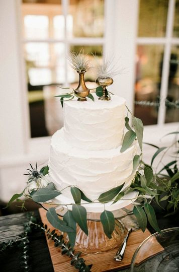 Boho Wedding Cake with rustic buttercream frosting and unique toppers with air plants by Let's Do...