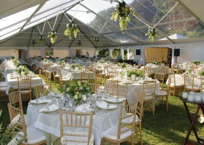 Clear top tent with floral decor