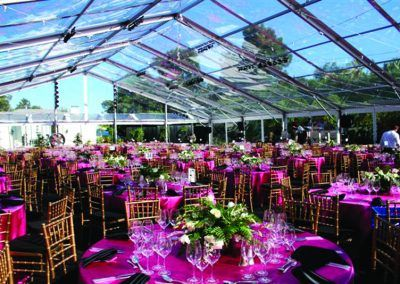 Pink tables and floral centerpieces