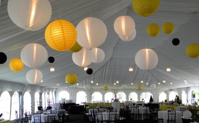 Draped tent with lanterns