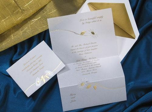 R3011 Two white pearl daisies adorn this invitation featuring your names and favorite quote. Your...