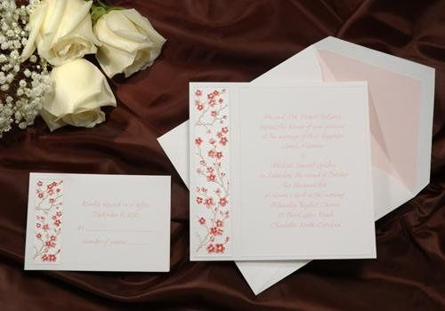 R 261 This square elegant invitation features deeply embossed cherry blossoms with soft petal and...