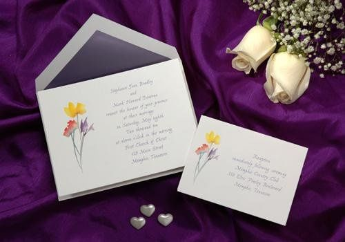 R 669 The bouquet of watercolor flowers adds sophistication to this bright white card.
