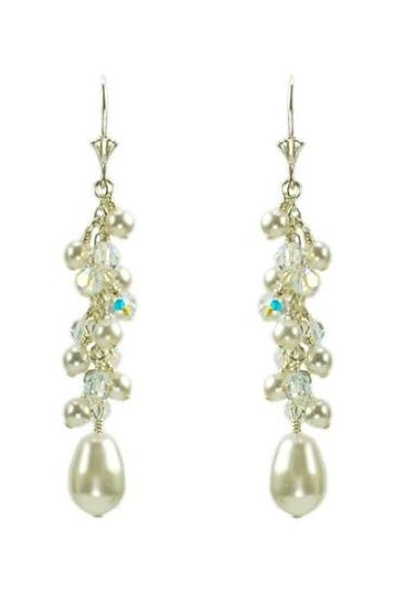 """Ashley"" Crystal and Pearl Cascade Earrings in Sterling Silver"