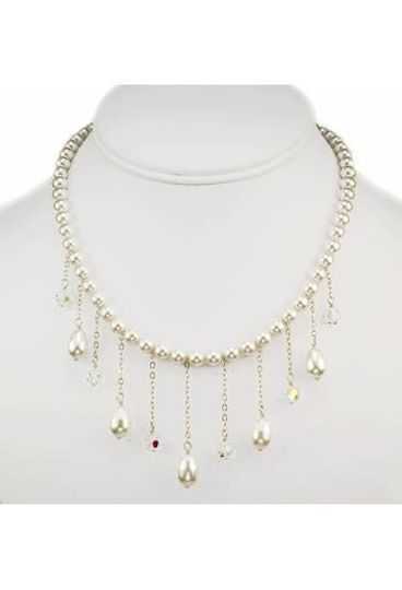 """Brianna"" Pearl and Crystal Drop Necklace"