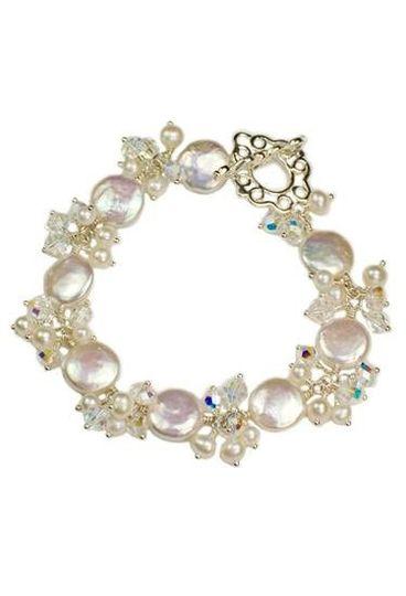 """""""Elizabeth"""" Coin Pearl and Crystal Cluster Bracelet"""