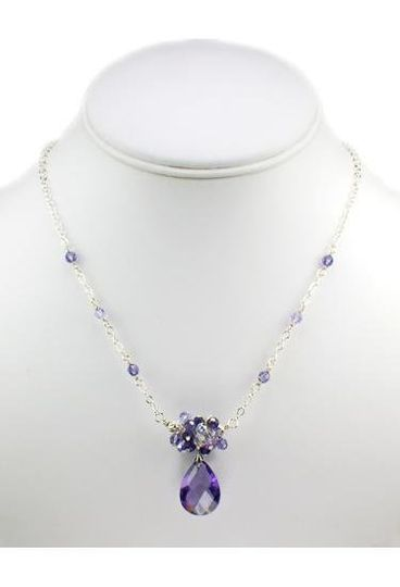 """""""Sophia"""" Cubic Zirconia and Crystal Cluster Necklace"""