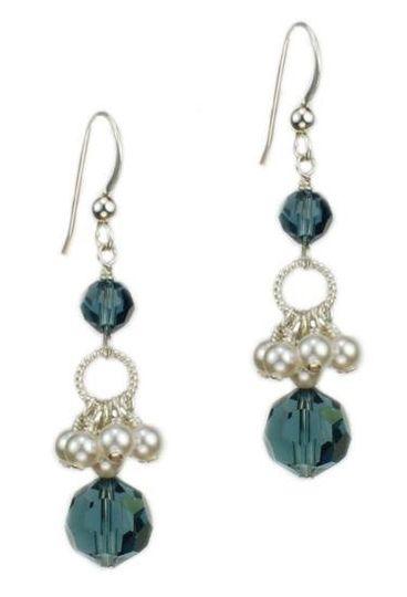 """""""Kristen"""" Crystal and Pearl Drop Earrings"""