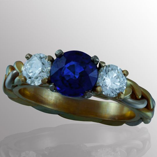 Commission CXVIII- Engagement ring made in 14K yellow and white gold with 1 1/2 ct. sapphire center...