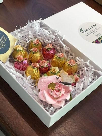 Beautifully packaged wedding favors for guests.