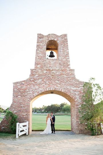 Couple photo under bell tower