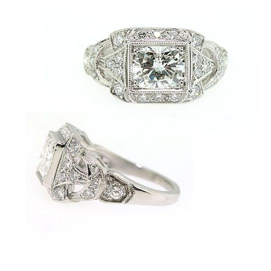 Vintage reproduction created by Jill Lynn. This ring features a 1.06ct cushion cut diamond, accented...