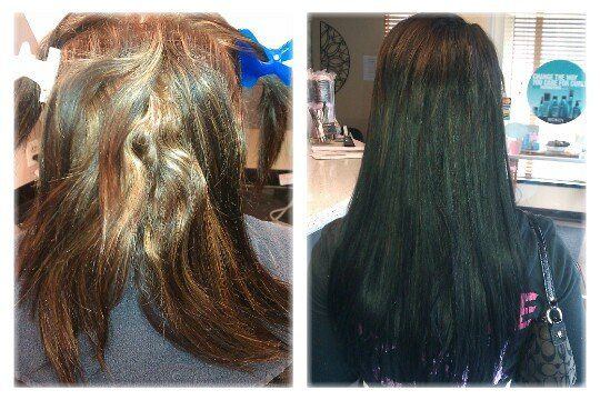 Before and After look of hair extensions, color, and keratin