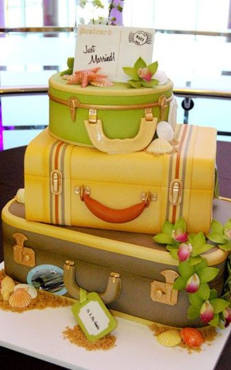 Entirely edible suitcase cakes for a post destination wedding reception.