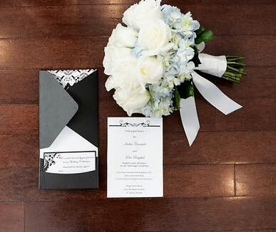 Bouquet and invitation card