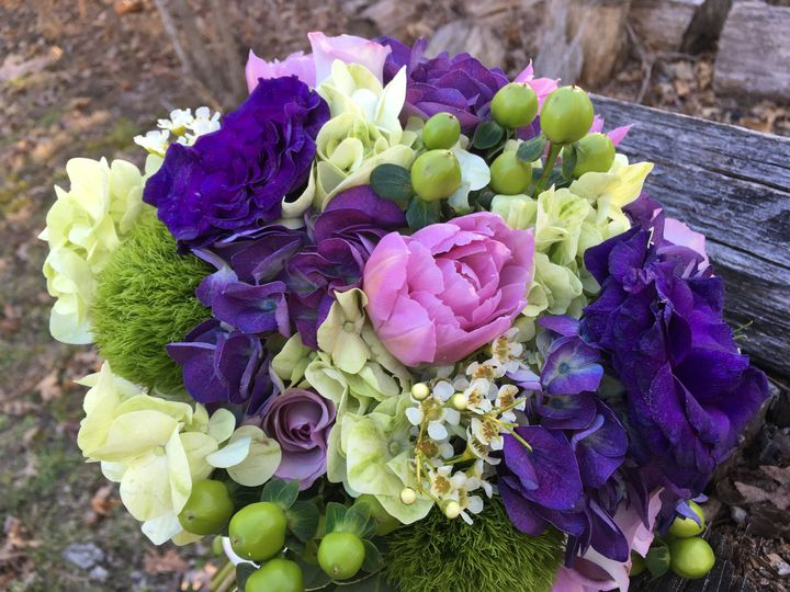 Purples and green bouquet