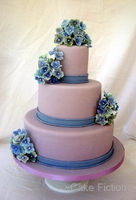 Violet and Blue Hydrangeas Wedding Cake