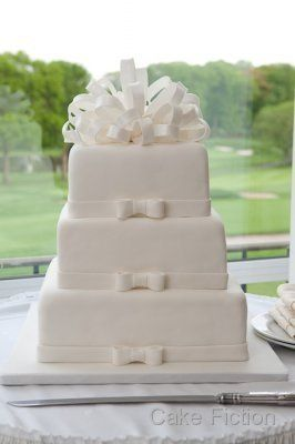 Pure White Bow Wedding Cake