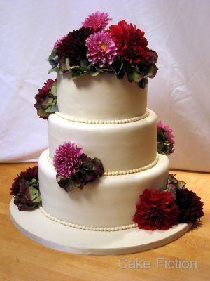 Ivory Wedding Cake with Fresh Dahlias