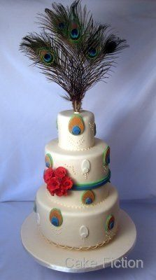Peacock Feathers and Roses Wedding Cake