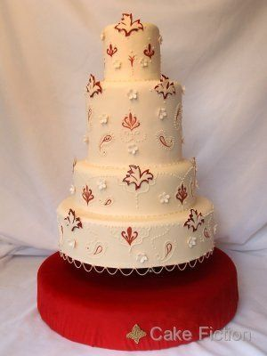 Indian Wedding Cake with Garnet Red Details