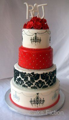 Damask cake with chandeliers and red roses