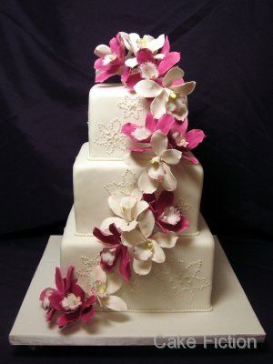 Magenta Orchids Wedding Cake with Snowflakes