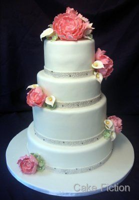 White Wedding Cake with Peony Bouquets