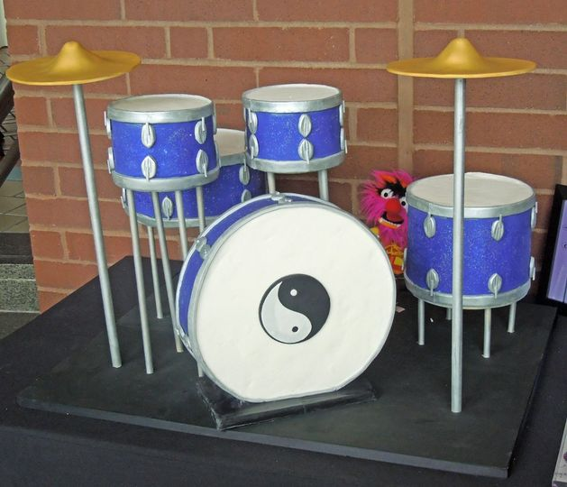 A cake that was a long time in the planning: the Groom was a drummer and wanted to showcase his...