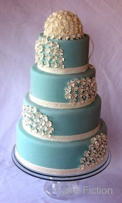 Tmx 1283124925625 IMG1883BlueWeddingCakewithHydrangeaBouquet Long Valley, New Jersey wedding cake