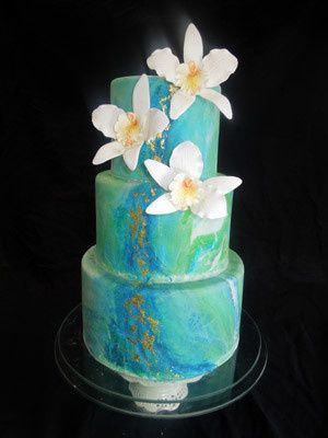 Tmx 1509937614387 Blue Marble Wedding Cake With Edible Gold Leaf Long Valley, New Jersey wedding cake