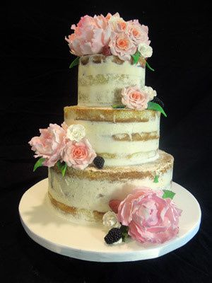 Tmx 1509937880660 Naked Cake With Fresh Peonies And Garden Roses Long Valley, New Jersey wedding cake
