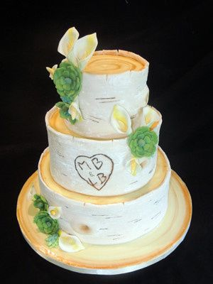 Tmx 1509938135696 Birch Bark Cake With Carved Monogram And Sugar Suc Long Valley, New Jersey wedding cake