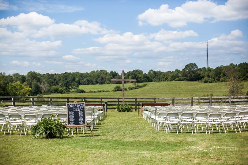 Outdoor wedding setup |  Amy Jo Photography