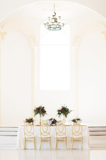 All white reception design
