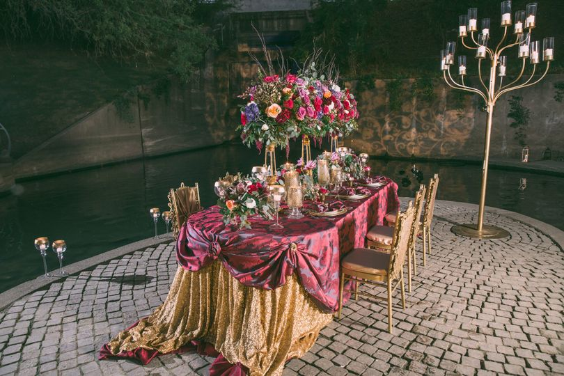 Red and gold table setup
