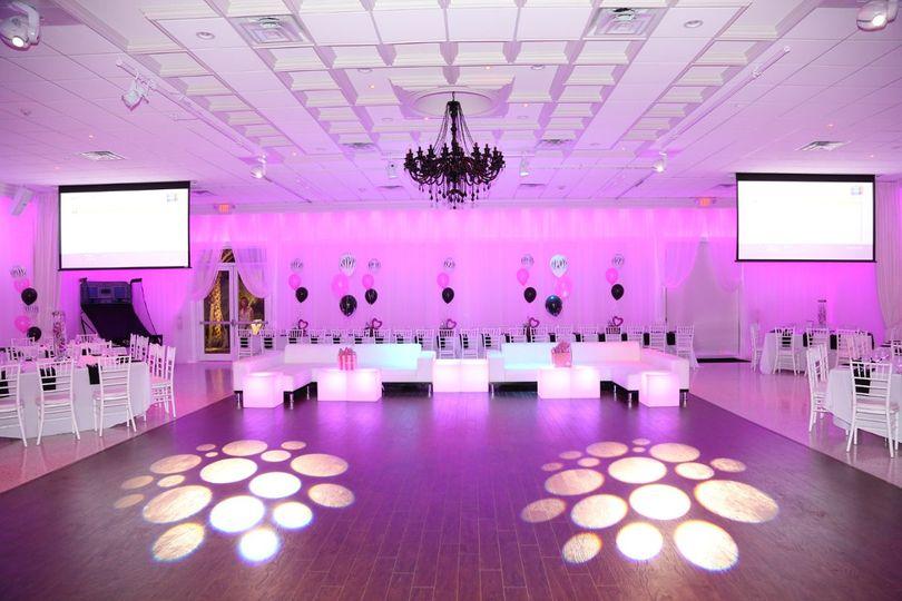 Indoor space with pink lights