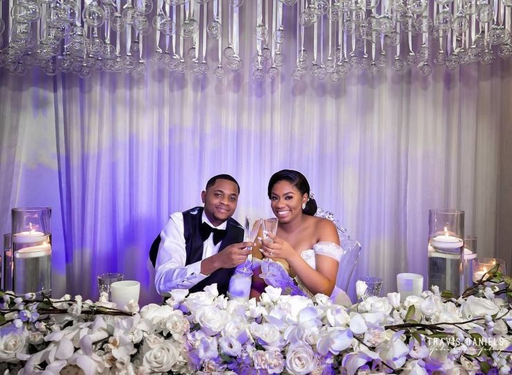 Bride & groom in ballroom