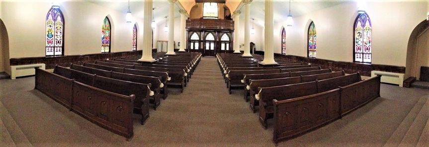Pews and aisle