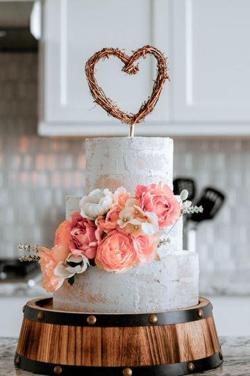 Semi-naked three tier cake
