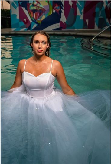 Bride in the pool