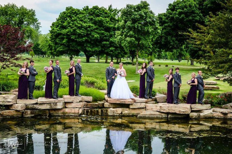 Wedding couple and entourage