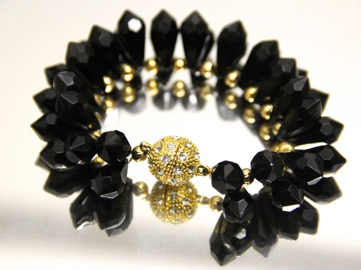 Tmx 1418401122323 Black Crystal Pendant And Gold Bangle Bracelet Elmsford wedding jewelry