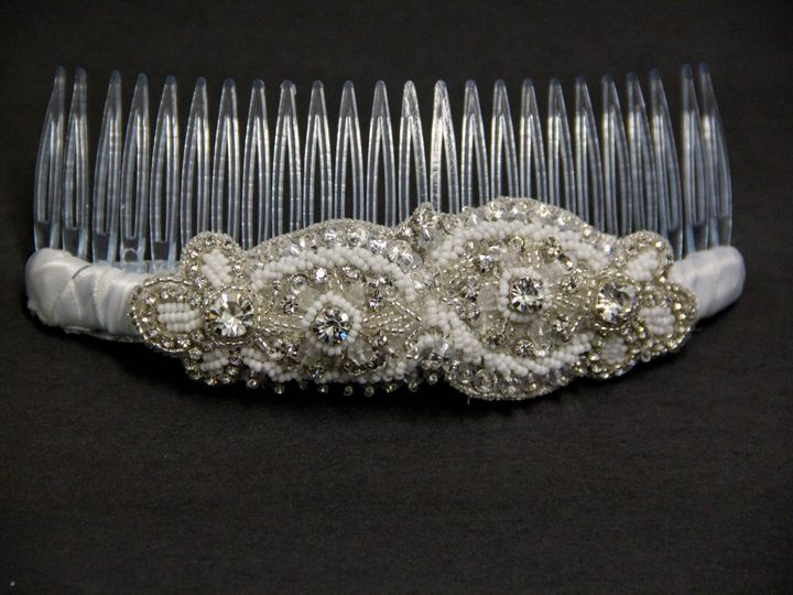 Tmx 1418401552179 White Beaded And Rhinestone Haircomb Elmsford wedding jewelry