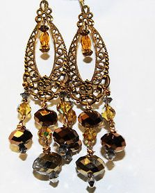 Tmx 1418402355516 Brass And Crystal Filigree Chandelier Earrings 2 Elmsford wedding jewelry