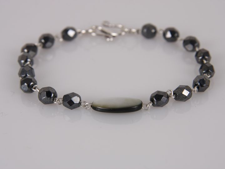 Tmx 1418406426652 Hematite And Mother Of Pearl Sterling Silver Link  Elmsford wedding jewelry