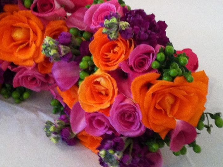 Orange and pink arrangements